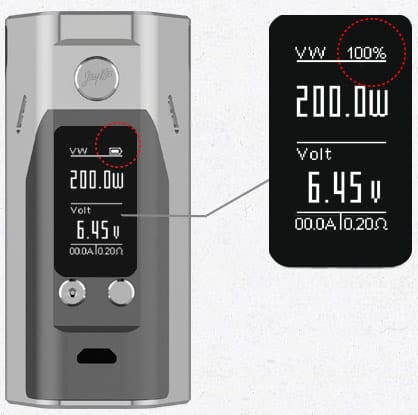 Reuleax Wismec RX200S Display Battery
