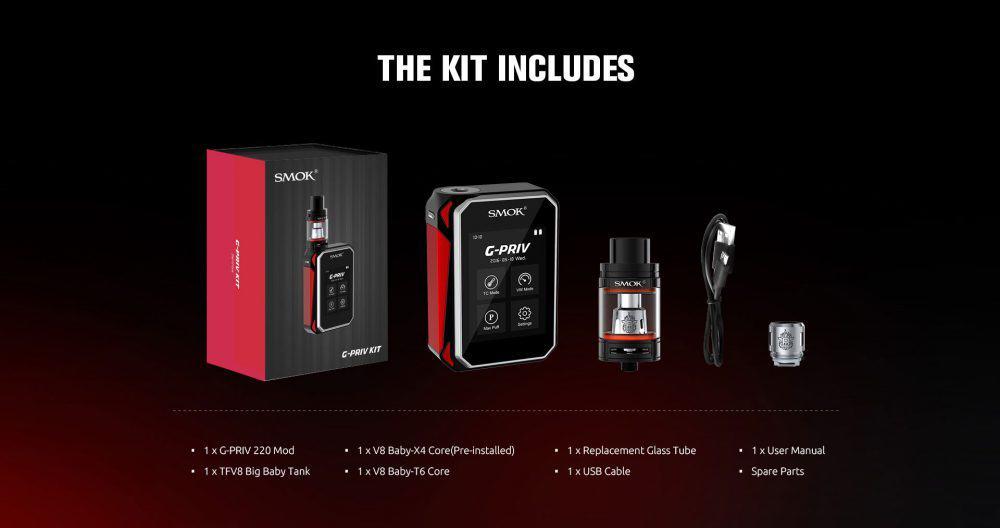 SMOK G-Priv Touchscreen MOD Kit Contents