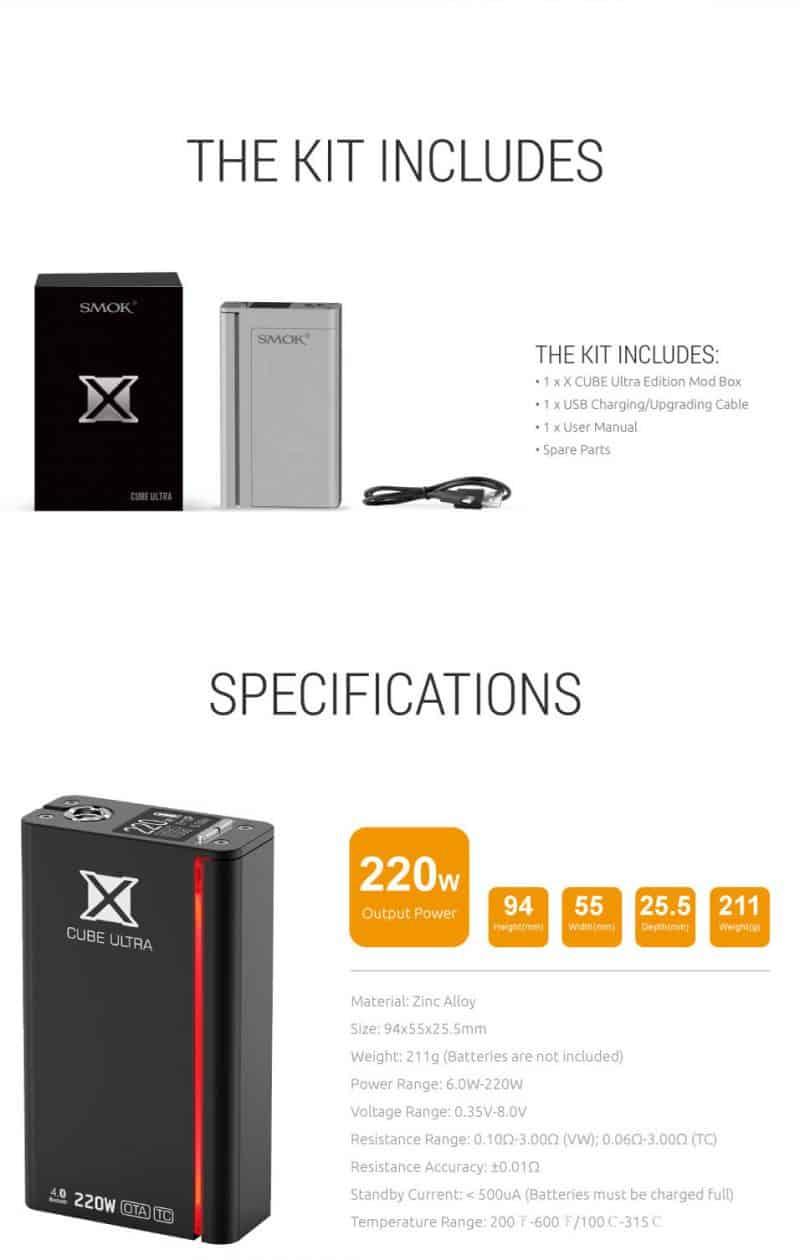 SMOK 220W X CUBE ULTRA Specs